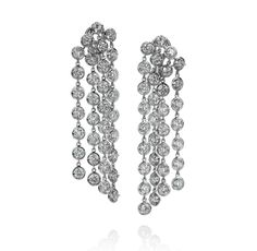 Sasha Primak Fine Jewelry - Rain Collection 18K White Gold 4-Row Diamond Earrings (Available at Michael C. Fina)