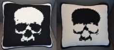 Crochet craft by Virpi Siipola. Skull pillow