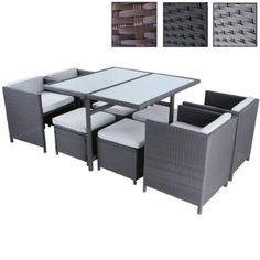 Miadomodo Polyrattan Garden Furniture (9 Piece) Outdoor Dining Patio Lounge Set (Grey)