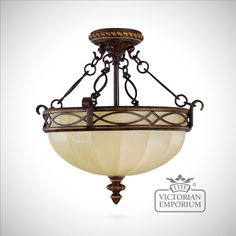 Buy Period semi flush mounted light, Interior ceiling and hanging lights - Decorative 19th century style light with chains in bronze and decorative glass