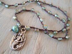 Dainty mermaid crochet necklace - Love Bravely- aquamarine, blue green, artisan pewter  pendant, nautical surfer beach boho chic.