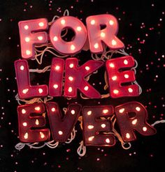 'For Like Ever' Valentine Marquee- Say it with lights! Polymer clay letters with string lights make for a love-filled sign. #DIY