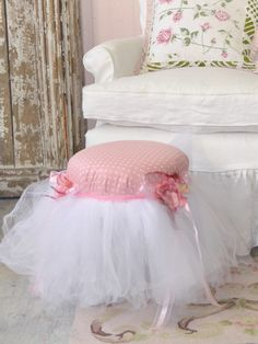 Shabby Pink and White Polka Dot Tuffet with Tulle Skirt
