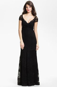 Nicole Miller Twist Front Lace Trumpet Gown | Nordstrom