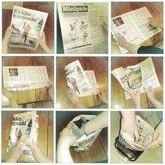 DIY - how to make biowaste bag from newspapers Personalized Items, Garden, How To Make, Bags, Beauty, Handbags, Garten, Taschen, Gardens