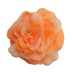 WD2U Rhinestone Orange Sherbet Rose Flower Hair Bow Alligator Clip Brooch Pony Tail Hair Tye