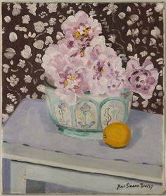 Jane Simone Bussy. (1906-1960). Still life of pink flowers in a decorated ceramic bowl with a single orange.