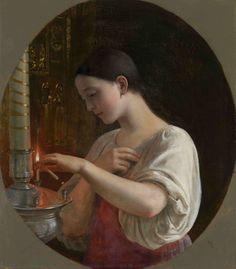 Sergei Gribkov (1820-1893) In the Church  Oil on canvas, 19th Century
