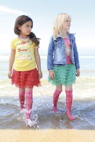 I am super cringing over the notion of wearing knee socks in the water - UGH! HOWEVER, I love this picture, because it reminds me so much of my twin girls! They love to pair tutus with crazy socks and shirts!