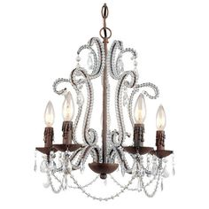 5-light metal chandelier in Godiva with a scrolling candelabra-inspired design and crystal accents. Product: Chandelier