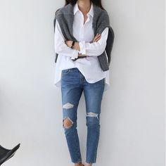 lgance moderne jeans escarpins mode pur style minimaliste petite chambre septembre 2016 chemise blanche bonjour fringues