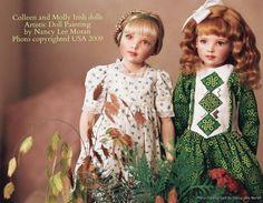 Photo#Feis02 of two Seasons dolls by Helen Kish, Cadence and Milly Irish, repainted by portrait artist Nancy Lee Moran in 2009, custom Irish dance dresses by Hankie Couture