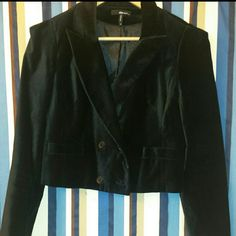 Velvet Cropped Jacket Black Jacket With Black Buttons Jackets & Coats Blazers