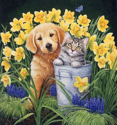 """""""Dog and Cat by Daffodils"""" by Kathy Goff"""