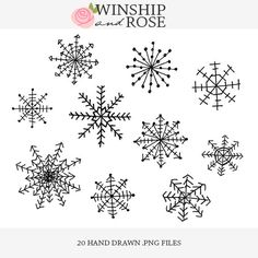 Snowflakes Holiday Clip Art - Hand Drawn Snowflake Christmas Doodle Overlays Set | Adorable Set by Winship & Rose on Etsy