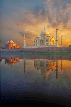 View of Taj Mahal Across River Agra India