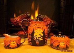 VINTAGE* *WITCHES* HALLOWEEN*ROYAL GALLERY GOLD * 4 PIECE* TEA SET