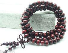 Exquisite Beaded Bracelet Wood Prayer Mala Beads Dark red