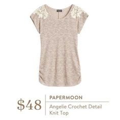 Stitch Fix Fashion! Papermoon Angelie Crochet Detail Knit Top. Cream top. Dress it up or down. So soft and comfy! #Stitchfix #Sponsored