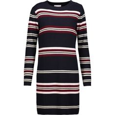 Chinti and Parker - Ribbed Striped Wool Sweater Dress ($194) ❤ liked on Polyvore featuring dresses, midnight blue, stripe dress, stripe sweater dress, striped sweater dress, ribbed sweater dress and woolen dress