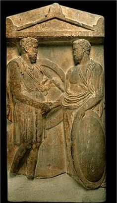 Farewell scene between two warriors  Funerary stele  Athens, late V BC . Louvres museum
