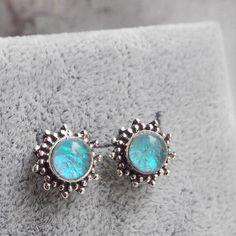 Ianthe - Faux Opal & Sterling Silver Stud Earrings