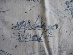 Seaside French Linen Pillowcase of children at play by the sea.