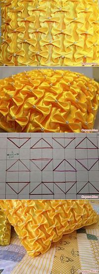 47 ideas for sewing pillows tutorial stitches Smocking Tutorial, Smocking Patterns, Pillow Tutorial, Sewing Patterns, Fabric Art, Fabric Crafts, Sewing Crafts, Sewing Projects, Textile Manipulation