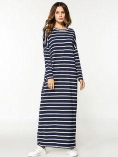 Casual Women Long Sleeve Stripe Loose Long Maxi Dresses Shopping Online - NewChic Mobile