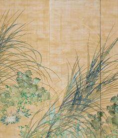 Detail. Hirafuku Hyakusui. Morning Dew. One of a pair of Japanese folding screens. 1915. Museum of the Imperial Collections. In the Freer's exhibit on Sotatsu and his influence.