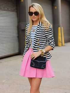 pretaportre:    Style blogger Blair Eadie of Atlantic-Pacific wearing a skirt from Topshop, Dress (worn as a top) from Zara, H blazer, Rebecca Minkoff bag, J.Crew, David Yurman, Yves Saint Laurent, Pomellato Jewelry, Pour La Victoire shoes, and Karen Walker sunnies.