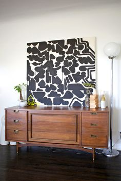 Love this oversized abstract black and white painting