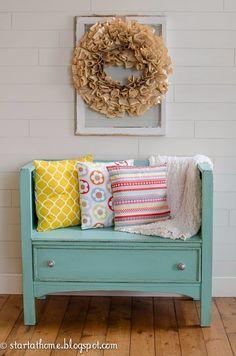 Start at Home: Vintage Dresser Turned Bench  Beautiful repurposed old, falling-apart dresser!