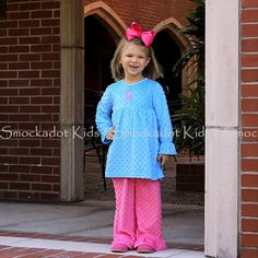 11/20/12  Aqua Minky Swing Top w/ Hot Pink Minky Ruffle Pants