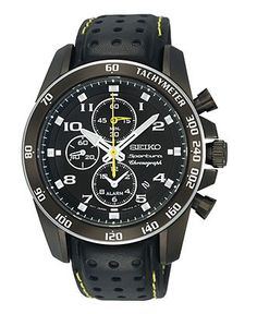 Seiko Watch, Men's Chronograph Black Perforated Leather Strap 42mm SNAE67 - All…