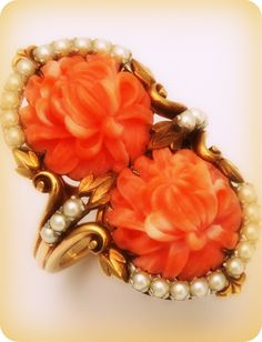 1930s Carved Coral and Pearl Gold Bracelet and Ring
