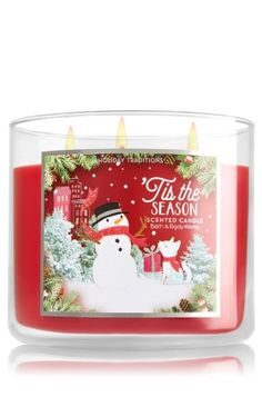 Tis The Season 3-Wick Candle - The rich, fruity scent of red apples, green pine & golden cider captures the joy of the season