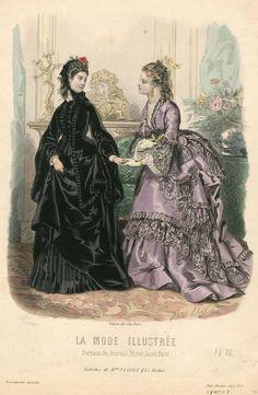 La Mode Illustrée 1872 Victorian Era Fashion, 1870s Fashion, Europe Fashion, Fashion History, Vintage Fashion, Victorian Costume, Victorian Dresses, Jean Délavé, 19th Century Fashion