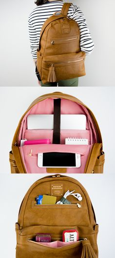 This luxurious Monopoly Leather Backpack is the kind of backpack I'd want to carry everyday! With modern and clean design, and lot of pockets to fit all my items including my laptop, I'd never leave anywhere without it! Unique Backpacks, Back Bag, Purse Organization, Carry On Luggage, Cute Bags, Backpack Purse, Clean Design, School Backpacks, School Bags