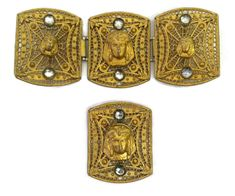 Vintage 1920s Pin and Belt Buckle Jewelry Egyptian Revival 4 piece set with Spiderwebs