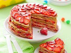 Gâteau de crêpes fraises-rhubarbe - Recettes