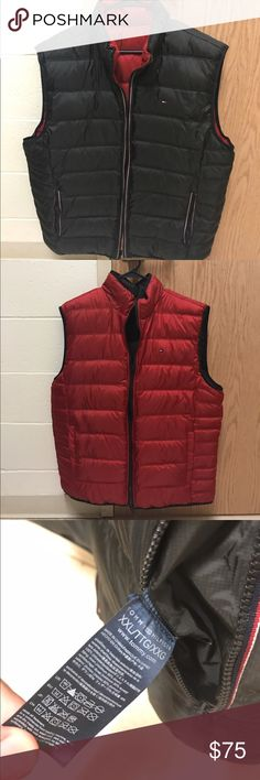 Men's quilted reversible vest red/black Great vest in mint condition. Everything is legit, retail is $120. Size is XXL as shown in photo Tommy Hilfiger Jackets & Coats Vests
