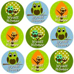 96 Personalized Waterproof Name Label Stickers - Adorable Owl Boy - Perfect for Bottles, Cups, Bowls, School, Daycare. $10.95, via Etsy.