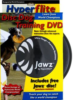 HyperFlite Disc Dog Training DVD with Jawz X-Flash Anti Glare, Puncture Resistant Disc!