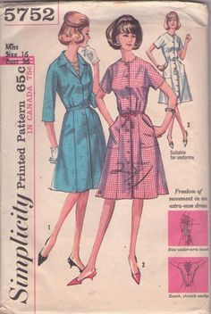027fae66f61 Simplicity 5752 vintage sewing pattern waitress maid dress Plus size  shirtwaist gored Pockets nurse uniform Bust 40 fit and flare