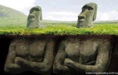 We all know that the easter island heads have bodies – that's not a mystery at all. But how did the easter island population build hundreds of statues? National Geographic, Easter Island Statues, Statue Art, Stone Statues, Buddha Statues, Greek Statues, Historical Monuments, Ancient Aliens, Ancient Civilizations