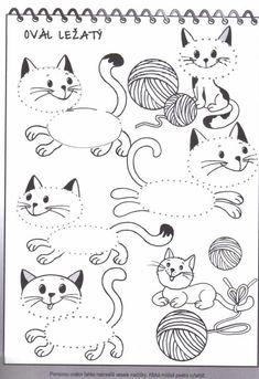 Kreslenie podľa čiar - Album používateľky zanka29 - Foto 161 Kindergarten Math Worksheets, Worksheets For Kids, Activities For Kids, Preschool Crafts, Crafts For Kids, Birthday Display, Pre School, Farm Animals, Coloring Books