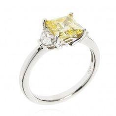 Diamonique giallo anello trilogy pari a 2.59ct in argento 925 - QVC Italia