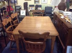 Solid Wood Dining Table & Chairs - Great for the home or cottage.  Dining table with 6 chairs ( 4 side chairs and 2 captains chairs). Table is 58 inches long by 38 inches wide. Includes two leaves. Each 9 inches wide. With leaves table extends to 76 inches long.  Price $450.00    - http://takeitorleaveit.co/2013/10/19/solid-wood-dining-table-chairs/