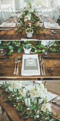 Rustic green and white wedding reception with succulent favors | The Evoke Company